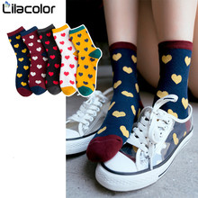 Heart Print Cotton Women Socks Cute Autumn Winter Female Korean Style High Sock Soft Breathable