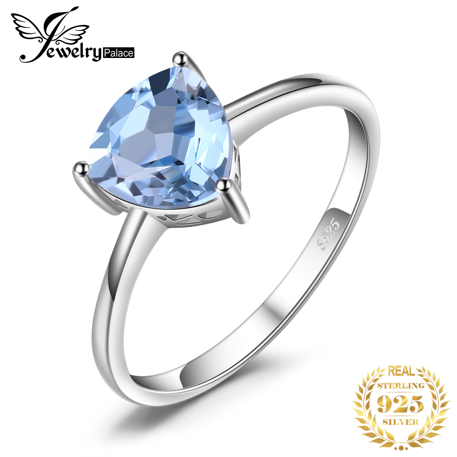 JewelryPalace Genuine Blue Topaz Ring Solitaire 925 Sterling Silver Rings for Women Engagement Ring Silver 925 Gemstones Jewelry-in Rings from Jewelry & Accessories