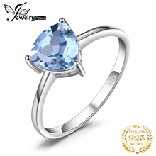 Classic Trillion 1.4ct 100% Natural Sky Blue Topaz Rings For Women Real Pure 925 Sterling Silver Fashion Brand Jewelry 2015 New