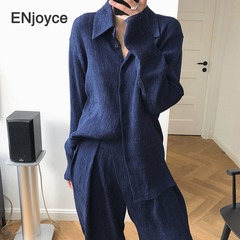Women 2020 Spring Fashion Korean Loose Pleated Blouse Female Casual Blouses Dark Blue Long Sleeve Shirt Ladies Clothes Top