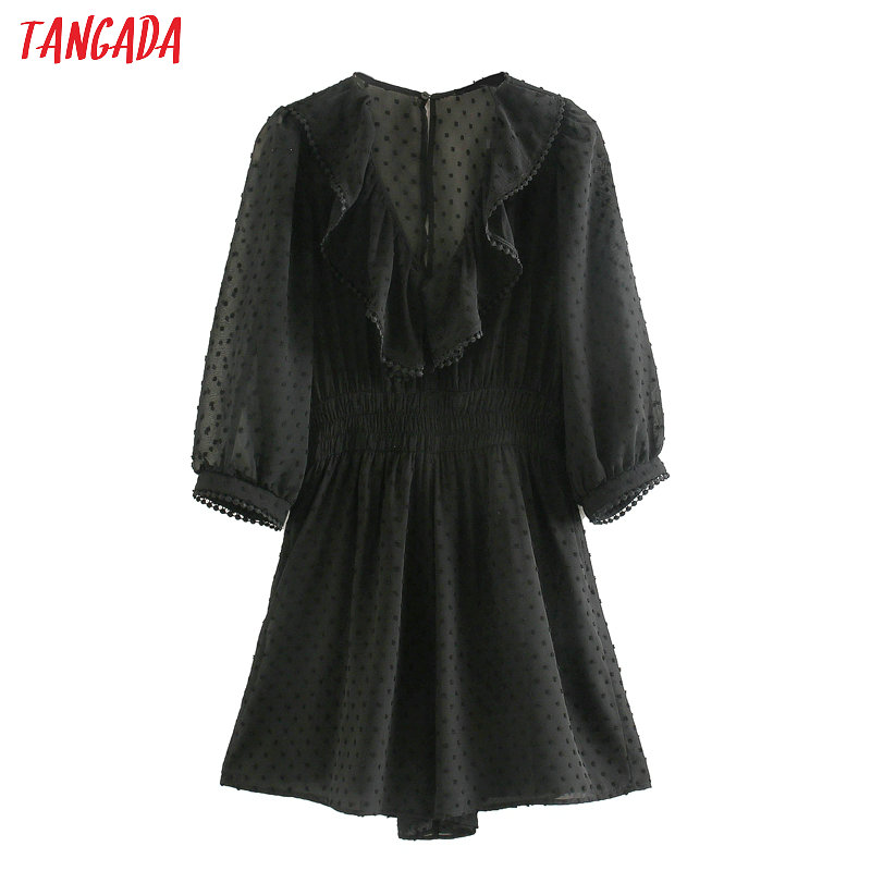 Tangada 2020 Summer Fashion Women Dots Black Mesh Playsuit Short Sleeve Vintage Female Ruffles Beach Jumpsuit JE64