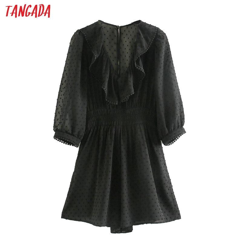 Tangada 2020 Summer Fashion Women Dots Black Mesh Playsuit Short Sleeve Vintage Female Ruffles Beach Jumpsuit JE64