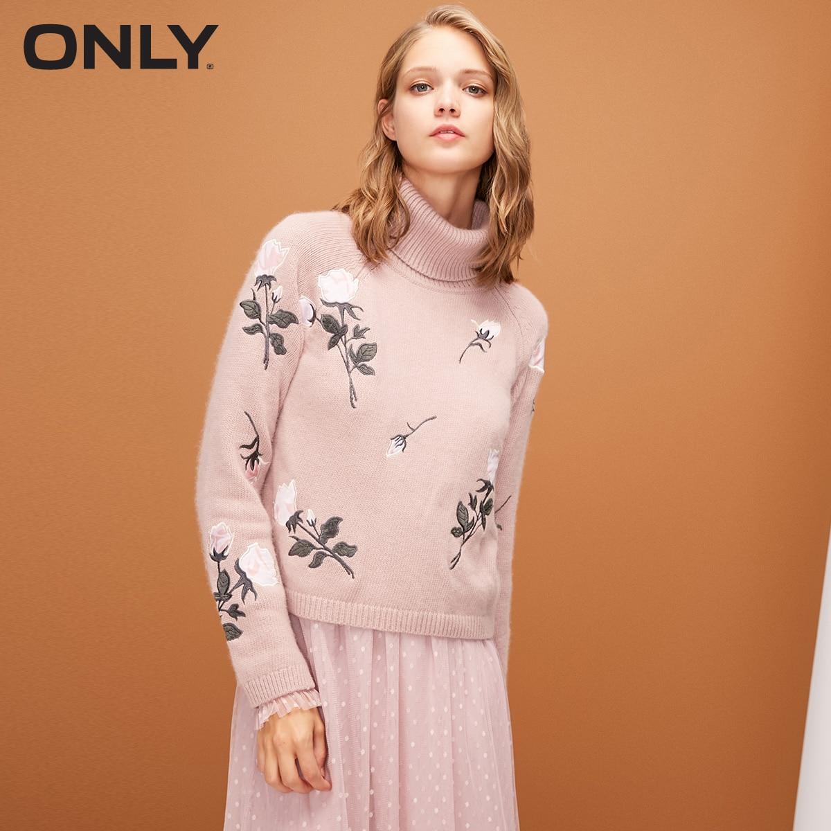 ONLY 2019 Women Autumn New High Collar Print Slim Sweater    |  118313563