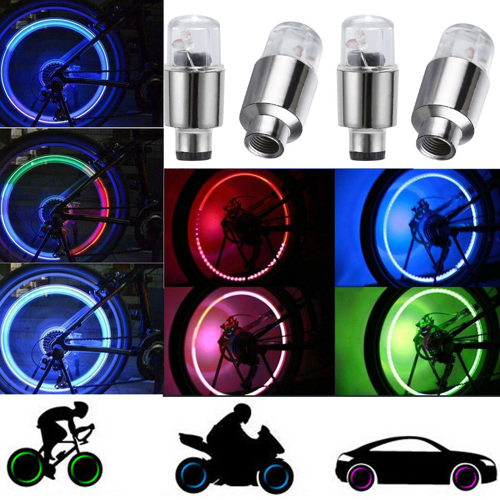 10x LED Car Bike Wheel Tire Tyre Valve Dust Cap Spoke Flash Lights Car Valve Stems Caps Accessories 4 Color Red Blue Green Lamp