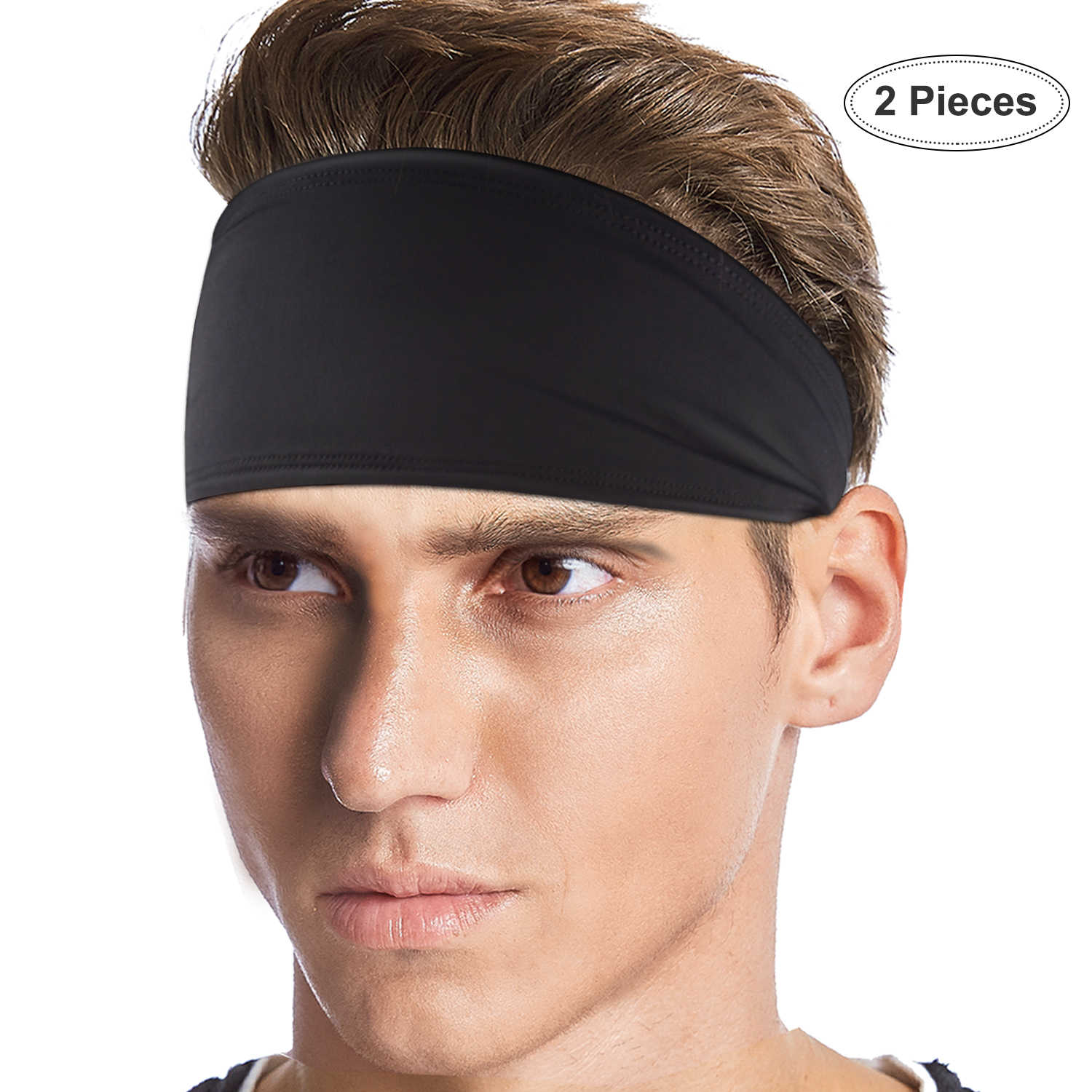 BXIO Mens Running Headbands, Moisture Wicking Head Sweatbands for Sports, Cycling, Yoga Football Basketball and Exercise,Black