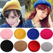 Winter Warm faux Wool Beret Women Girls French Artist Beanie Hat Cap red black p