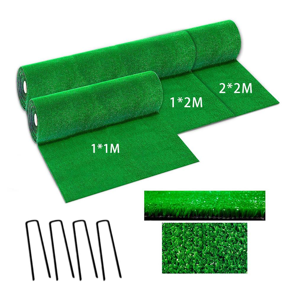 New Thicken Green Synthetic Drainage Grass Simulation Artificial Turf Set Turf And Steel Rivet Straw Mat Garden Decoration