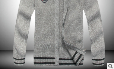 New Winter Thick Men's Knitted Sweater Coat Long Sleeve Cardigan Fleece Full Zip With Pockets Shark Brand Male Autumn Clothing