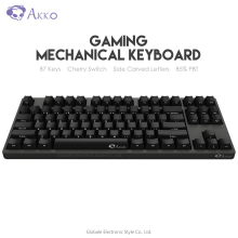 Оригинальная Механическая игровая клавиатура AKKO 3087, вишневый переключатель, с боковой резной буквой type-C, USB, Проводная компьютерная игровая клавиатура