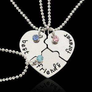 3PCS/Set Heart Pendant Necklace For Children Necklace Choker Jewelry Chain Christmas Gift