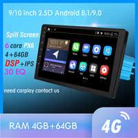 RAM 4G + 64GB 6 Core Android 9,0 PX6 GPS Navigation Autoradio Multimedia DVD-Player Bluetooth WIFI MirrorLink DSP OBD2 Universal
