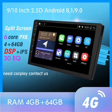RAM 4G + 64GB 6 rdzeń Android 9.0 PX6 samochodowa radiowa nawigacja GPS multimedialny odtwarzacz DVD Bluetooth WIFI MirrorLink DSP OBD2 uniwersalny(China)