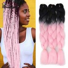 WonderLady-extensiones de cabello trenzado sintético con degradado, trenzas Jumbo de 120g, 24 pulgadas, caja Afro, trenza giratoria, 100 colores, venta al por mayor
