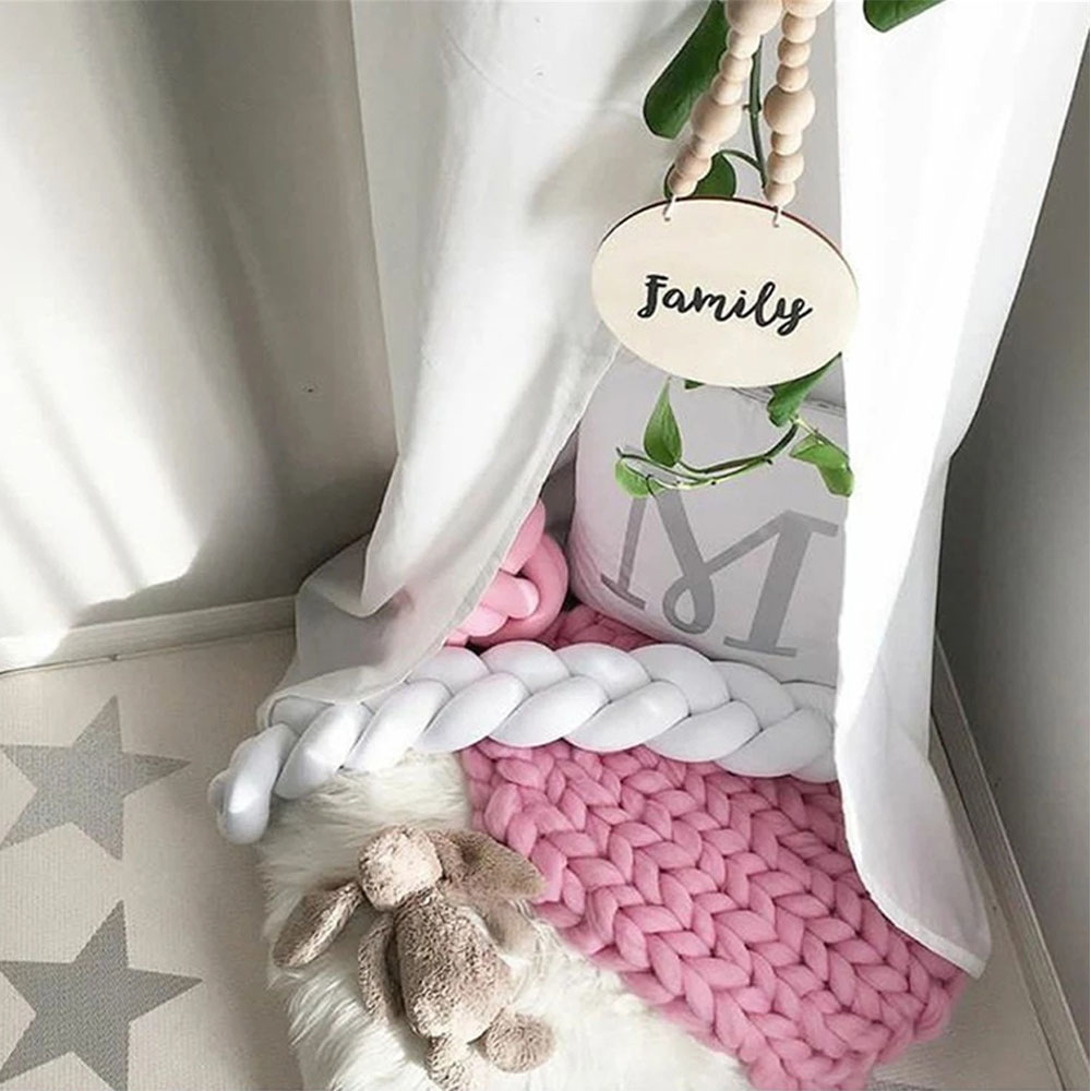 1M 2M 3M Baby Bed Bumper Nordic Baby Room Decor Handmade Knotted Braid Kids Fence Baby Crib Protector Baby Cradle Baby Bedding in Bumpers from Mother Kids