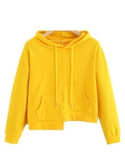 Women Yellow Hooded Spring Long Sleeve Pocket Solid Hooded Sweatshirt Drawstring Casual Pullover short cropped hooded sweatshirt drop shoulder ripped drawstring hooded sweatshirt