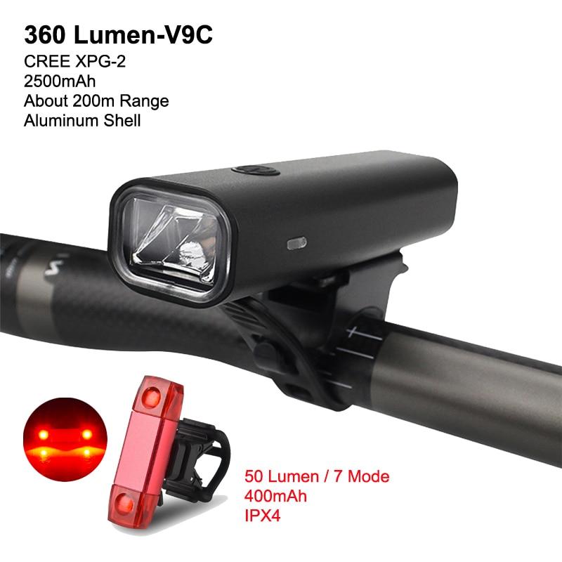 Bike Light Set USB Rechargeable LED Front Lamp Headlight Ultra Light Flashlight Lantern For Cycling 8 Hours Endurance 2500mAh