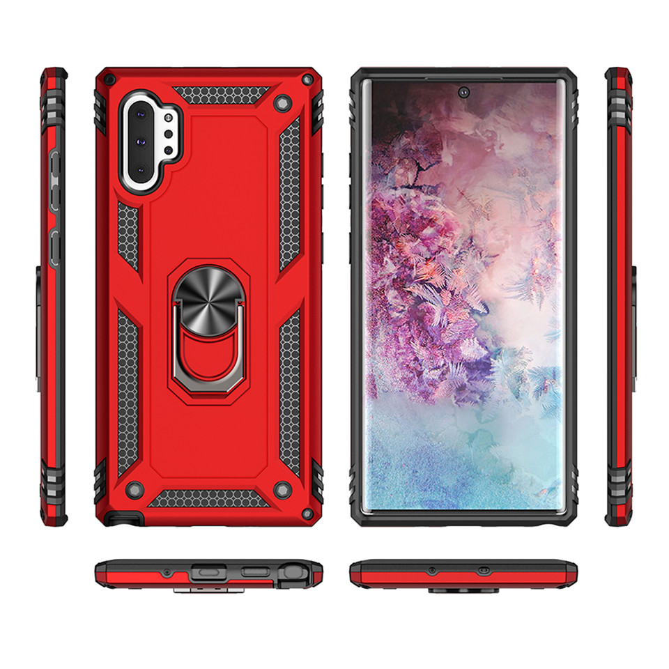 Tough Armor Case for Samsung Galaxy Note 10 Plus Note10 Cover Plastic Rubber Shockproof Car Holder Ring Case for Galaxy Note10