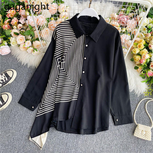 Gaganight Fashion Women Blouse Long Sleeve Irregular Elegant Office Lady Shirt Chic Casual Loose Blusas Spring Autumn New Shirts 2