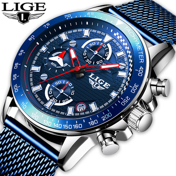 2020 LIGE Mens Watches Top Brand Luxury Fashion Business Quartz Watch Men Sports Watch Waterproof blue Clock Relogio Masculino