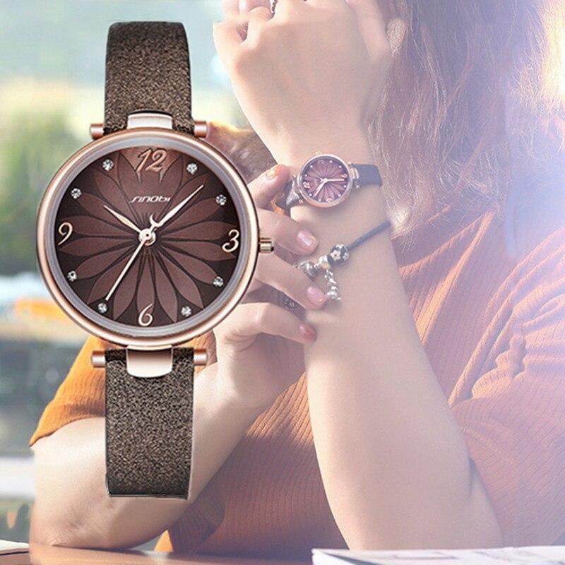 SINOBI Women Watches Flower Print Women Leather Watchband Analog Quartz Wristwatches Fashion Casual Ladies Watches Reloj Mujer