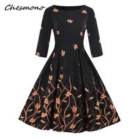 Fifty s Flower Print High Tail Vintage Women's dress New Spring Rockabilly Patchwork Big Swing A line Women's dresses Vestido