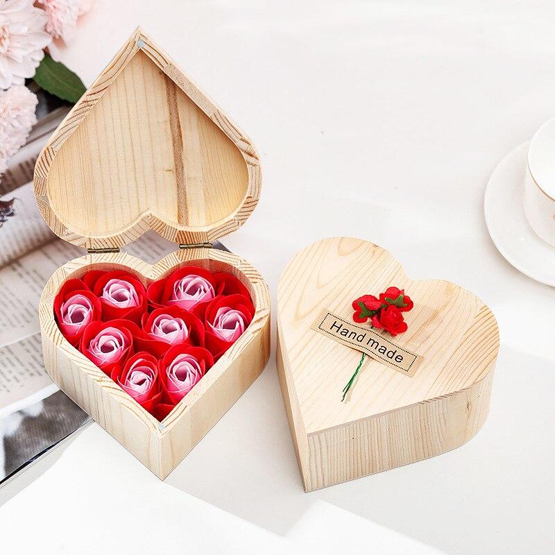 20 шт креативная деревянная коробка в форме сердца, подарочные пакеты с розовым мылом, цветком медведем и сеткой 1 ярд