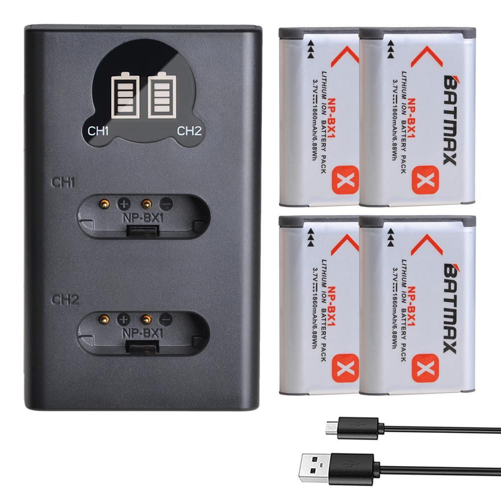 4Pcs 1860mAh NP-BX1 NP BX1 Battery + LCD USB Charger With Type C For Sony  DSC RX1 RX100 M3 M2 RX1R WX300 HX300 HX400 HX50 HX60