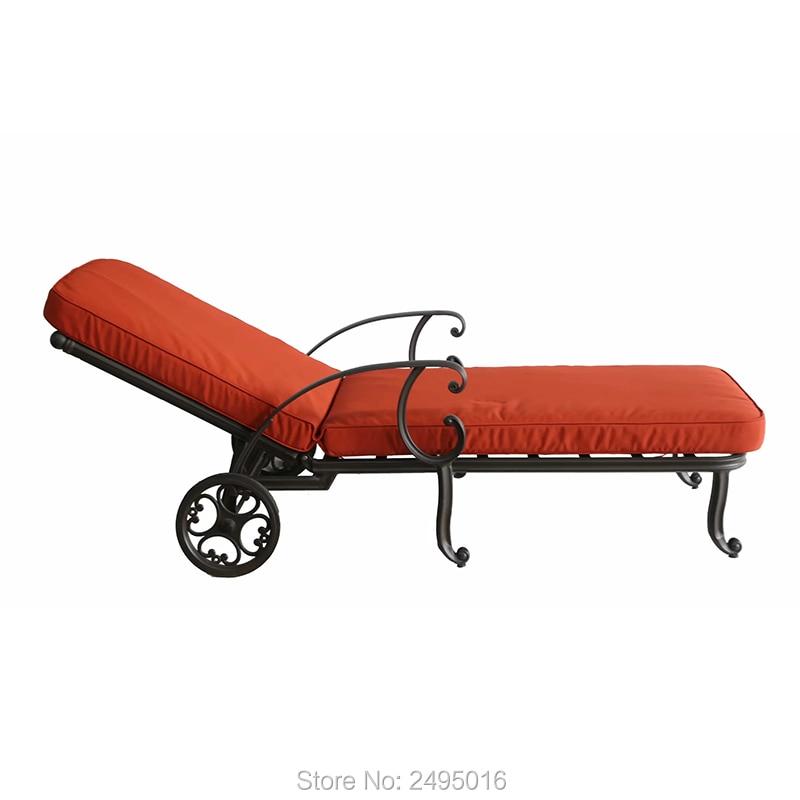 Cast Aluminum Sun Loungers Portable Deck Chair Metal Outdoor Leisure Beach Chiar Garden Chair Heavy Duty Durable