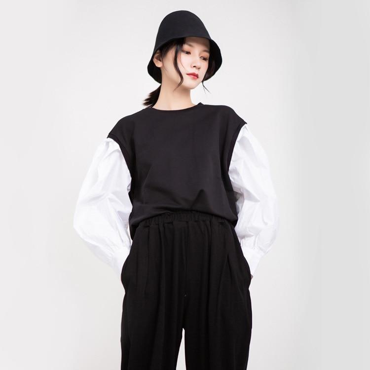 TVVOVVIN 2019 automne vêtements femme blanc lanterne chemise à manches longues Patchwork col rond pull à capuche femme L069 - 2