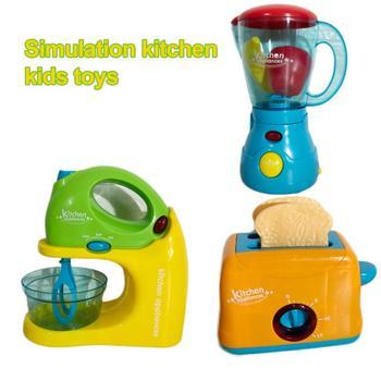 Gran oferta de juego de cocina para niños, máquina mezcladora de pan, juguera de imitación, exprimidor de fruta, juguete de simulación, electrodomésticos pequeños para el hogar
