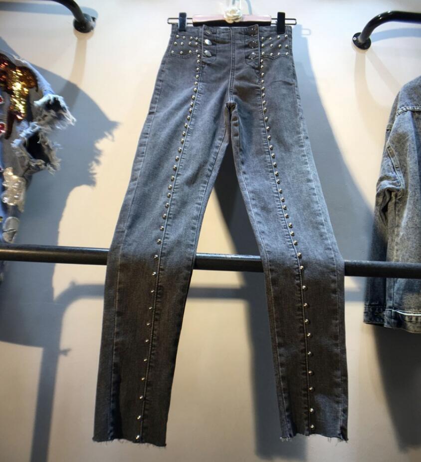 Pantalon en Denim droit perlé taille haute 2019 automne Slim ouvert longueur cheville Jeans femmes crayon pantalon r1894