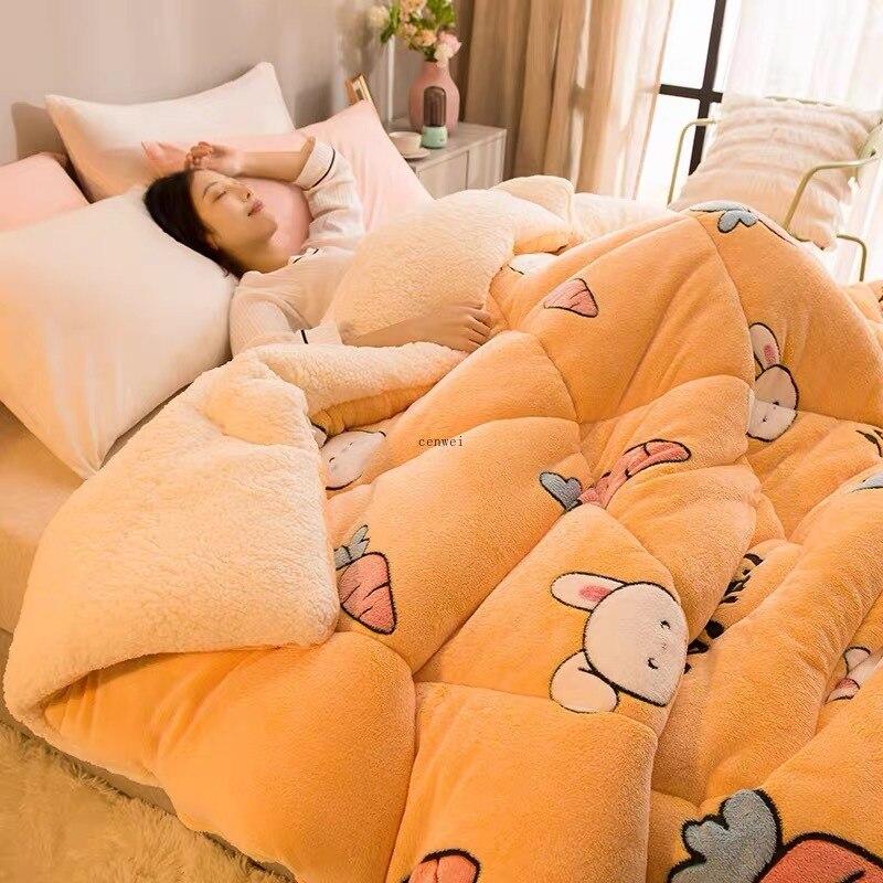 Супер теплое одеяло из ягненка зимнее двухстороннее искусственное