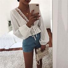 High Street Women White Crop Tops Striped Blouse Lace Deep V Neck Long Lantern Sleeve Shirt