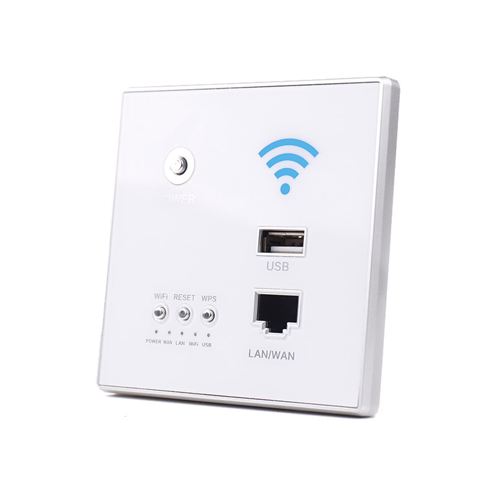 300Mbps 110~250V Power AP Relay Smart Wireless WIFI Repeater Extender Wall Embedded 2.4Ghz Router Panel USB Socket