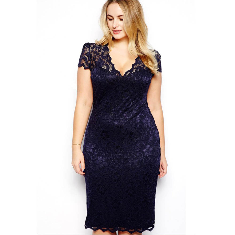 Women Summer <font><b>Dress</b></font> Plus Size 3XL <font><b>Sexy</b></font> Pencil <font><b>Bodycon</b></font> <font><b>Dress</b></font> Short Sleeve V Neck Slim Fit <font><b>Blue</b></font> Lace vestidos XXXL 7644 image