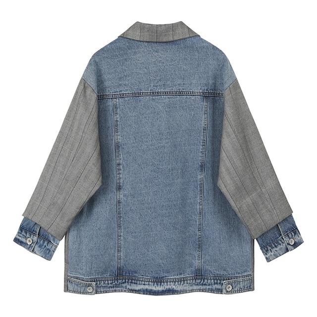 [EAM]  Women Gray Plaid Back Denim Big Size Blazer New Lapel Long Sleeve Loose Fit  Jacket Fashion Tide Spring Autumn 2020 1X216