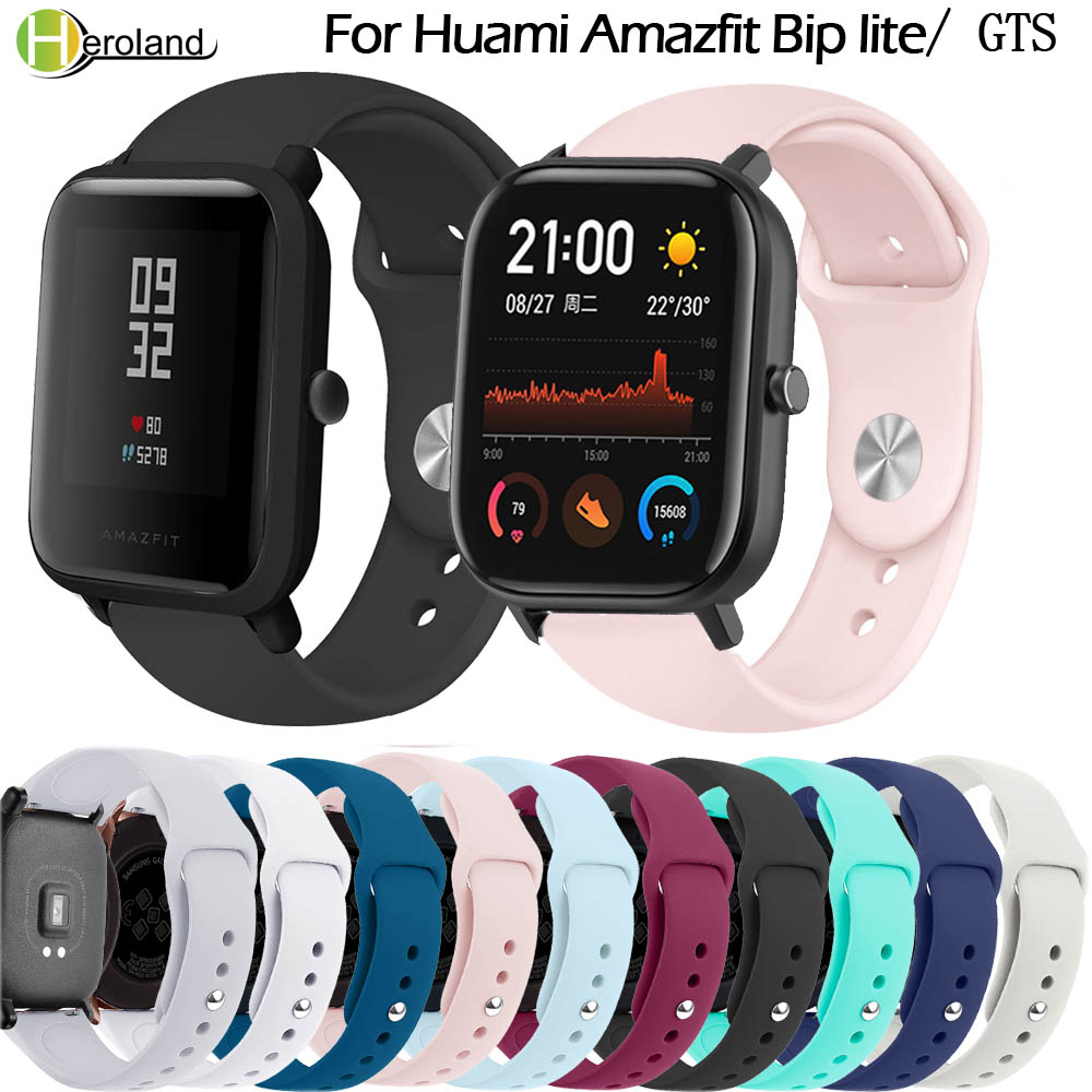 20mm Silcone Watchstrap Bracelet For Xiaomi Huami Amazfit Bip Lite Smart Watch Wrist Strap For Xiaomi Huami Amazfit GTS/GTR 42mm