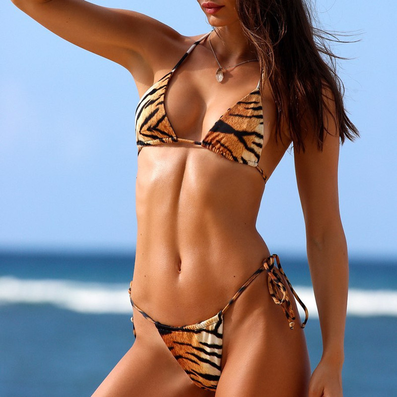 Hirigin Sexy Tiger Stripe Thong Bikini Women Bahdange Swimwear 2020 New Push Up Padded Swimsuit Women Bathing Suit Beach Biquini