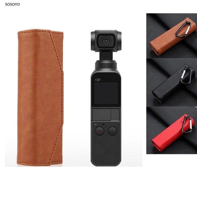 ポータブル収納袋革保護ケースハンドバッグ DJI OSMO ポケットアクションカメラアクセサリー用のバックルをぶら下げと 3 色