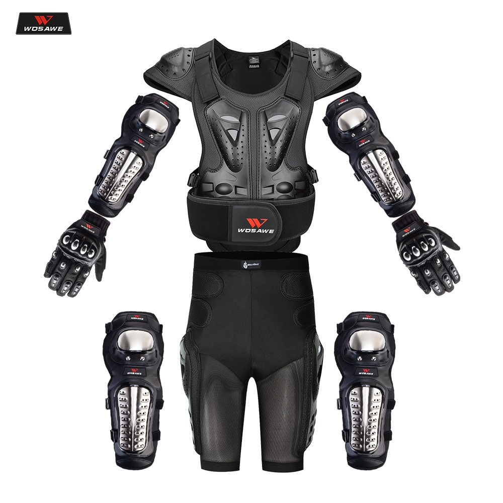 WOSAWE Adult Full Body Protector Vest Armor Motocross Armor Jacket Chest Spine Protection Gear Elbow Shoulder Knee Guard Gloves