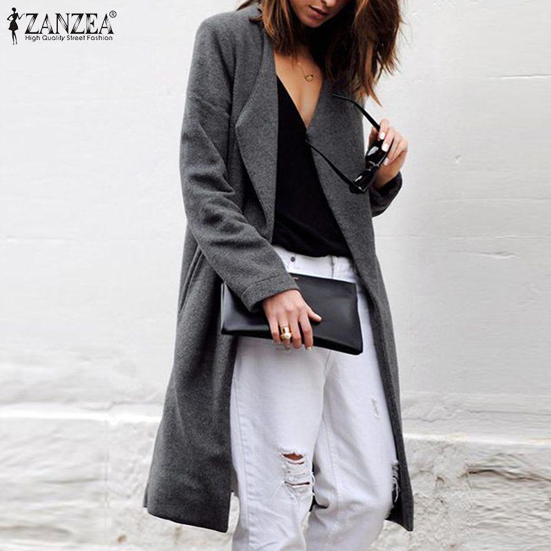 ZANZEA Women Blazer Office Lady Business Blazers 2019 Fashion Chaqueta Mujer Autumn WInter Open Front Casual Long Coats Jackets
