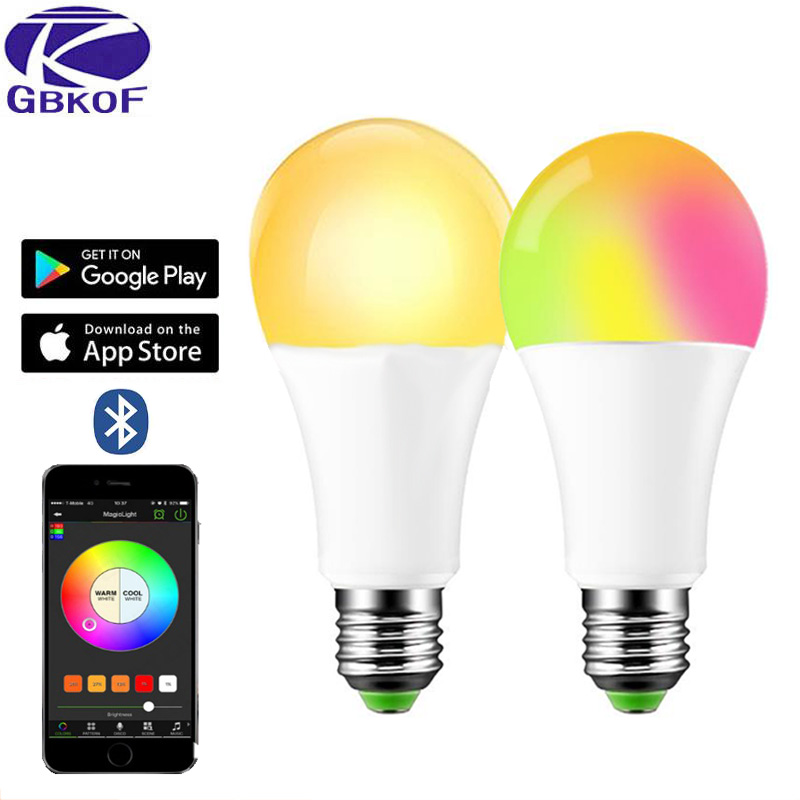 New 15W Bluetooth Smart Bulb LED 5W 10W RGB Magic Lamp E27 Color Change Light Bulb Smart Home Lighting Compatible IOS/Android