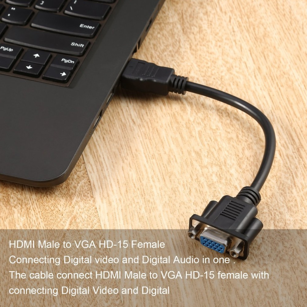 Audio Cable and Adapter,Black Durable Lightweight HDMI Male to VGA D-SUB 15 pins Female Video AV Adapter Converter Cable for HDTV Set-Top
