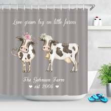 Занавеска для душа в ванную комнату с изображением фермы коровы