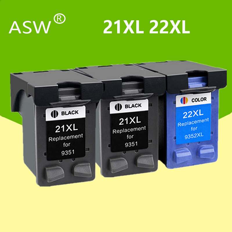 ASW 3Pcs 21XL 22XL Ink <font><b>Cartridge</b></font> Replacement For <font><b>HP</b></font> <font><b>21</b></font> <font><b>22</b></font> XL Deskjet F380 F2180 F2280 F4180 F4100 F2100 Printer <font><b>Cartridges</b></font> image