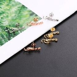 Lateefah 1 par personalizado nome personalizado brincos para as mulheres personalizar inicial cursiva placa de identificação do parafuso prisioneiro brinco presente melhor amigo