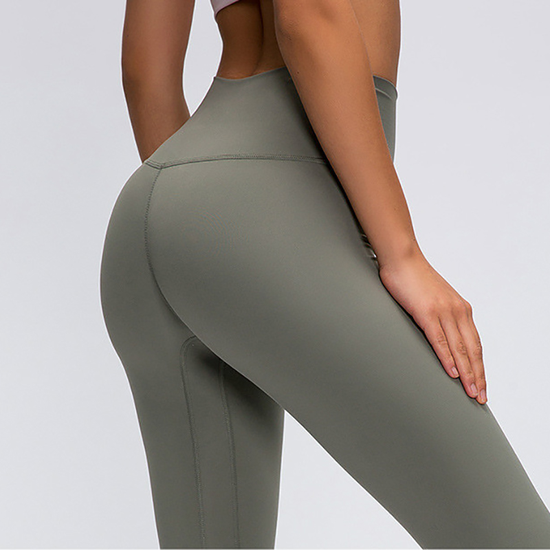 2.0Versions Naked-Feels Plain Running Sport Cropped Pants Women Breathable High Rise Yoga Leggings Fitness Athletic Capri Pants