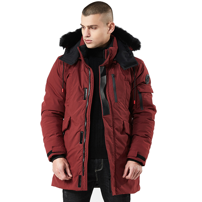 Men's Winter Down Jacket Cotton-Padded Parkas Fur Collar Long Coat Thick Jacket Parka Coat Male Fashion Casual Coats Size M-3XL