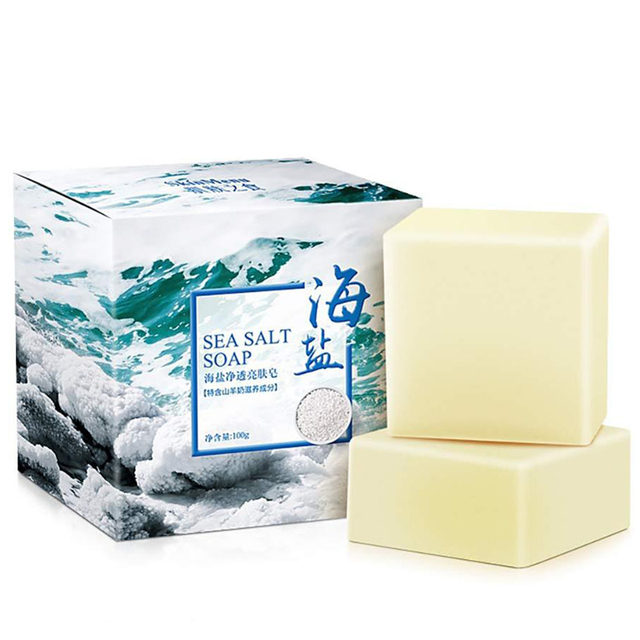 Sea Salt Soap Acne Treatment Shrink Pore Whitening Remove Blackhead Moisturizing Facial Cleanser 3