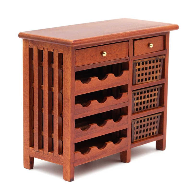 1 PC 1:12 Rumah Boneka Simulasi Model Mini Mahoni Anggur Cabinetfurniture Display Dapur Kotak Kayu Miniatur Aksesoris Dapur